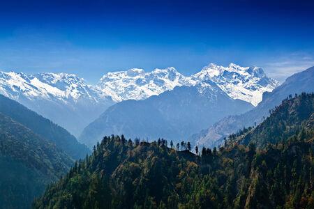 Manaslu range in Himalayas, Annapurna area, Nepal Stock Photo