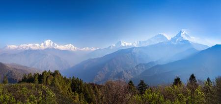 Panorama of the beauty sunrise in Himalaya mountains