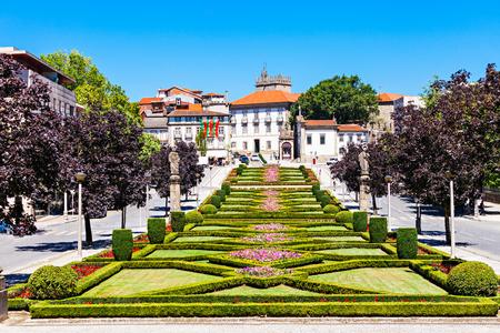 Garden near Nossa Senhora Da Consolacao E Dos Santos Passos Church (Sao Gualter Church) in Guimaraes, Portugal