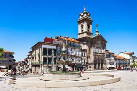 obelisk stone: Toural Square (Largo do Toural) is one of the most central and important squares in Guimaraes, Portugal