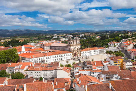 portugese: Aerial view of Alcobaca Monastery in Alcobaca, Portugal Stock Photo