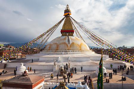 Unidentified pilgrims at the Boudhanath stupa in Kathmandu, Nepal