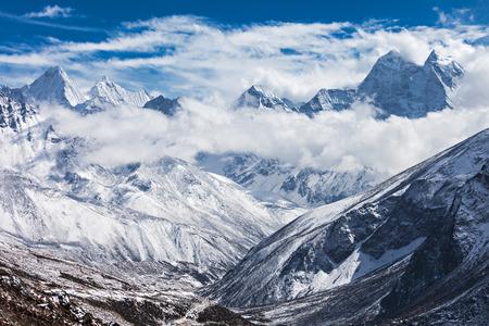 에베레스트 지역, 히말라야, 동쪽 네팔 산 스톡 콘텐츠