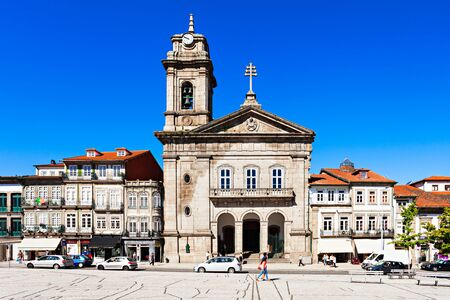 guimaraes: GUIMARAES, PORTUGAL - JULY 11: Toural Square (Largo do Toural) is one of the most central and important squares  on July 11, 2014 in Guimaraes, Portugal Editorial