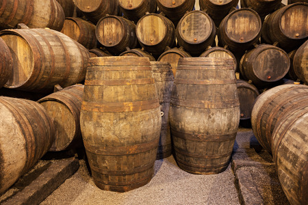 fortified: Barrels in the wine cellar, Porto, Portugal