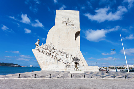 discoveries: Padrao dos Descobrimentos (Monument to the Discoveries) is a monument on bank of the Tagus River in Lisbon, Portugal Editorial