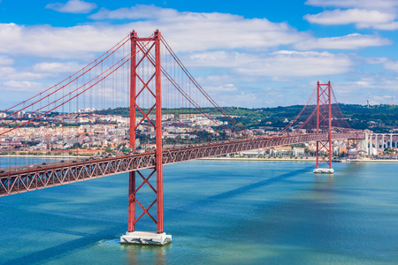 The 25 de Abril Bridge is a bridge connecting the city of Lisbon to the municipality of Almada on the left bank of the Tejo river, Lisbon
