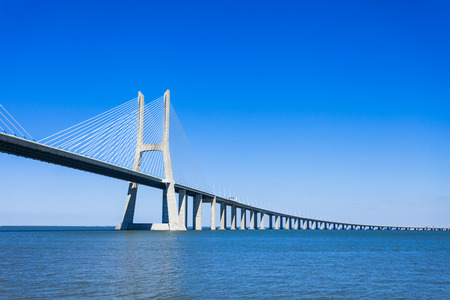 The Vasco da Gama Bridge in Lisbon, Portugal. It is the longest bridge in Europe Stock Photo