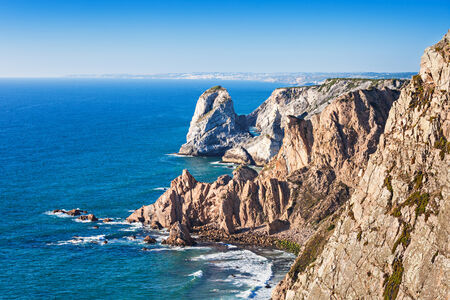 Cabo da Roca (Cape Roca) is a cape which forms the westernmost extent of mainland Portugal and continental Europe Stock fotó
