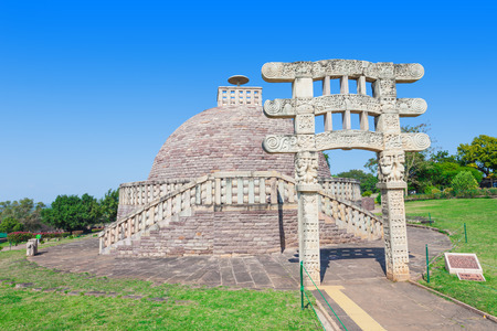 madhya: Sanchi Stupa is located at Sanchi Town, Madhya Pradesh state in India