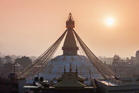 Boudhanath is a buddhist stupa in Kathmandu, Nepal photo