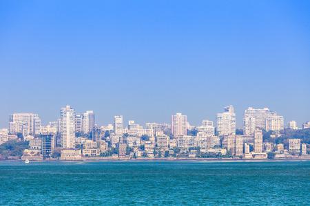 Mumbai skyline view from Marine Drive in Mumbai, India Stock Photo - 36825643