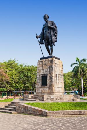 statue: Mahatma Gahdhi statue in the center of Mumbai, India Stock Photo