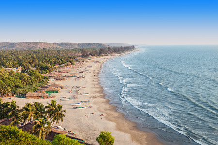 south india: Beauty Arambol beach landscape, Goa state, India Stock Photo