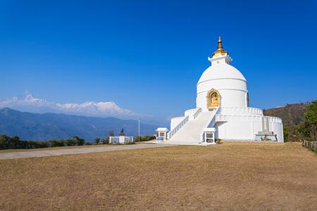 pokhara: World Peace Pagoda in Pokhara, central Nepal