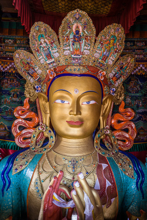 gompa: The Maitreya Buddha (Future Buddha) at Thiksey Monastery in Ladakh. Stock Photo