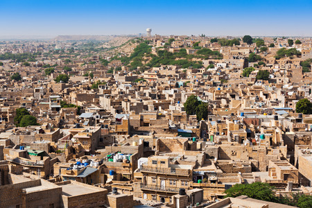 haveli: Aerial view of Jaislamer city, Rajasthan state in India Stock Photo