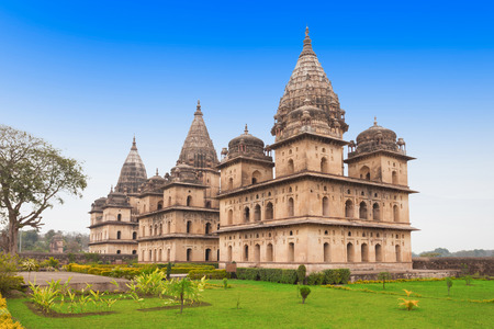 madhya pradesh: Chhatris or Cenotaphs are dome shaped structure built in 17th century for a long memory about raja of Orchha city. Editorial