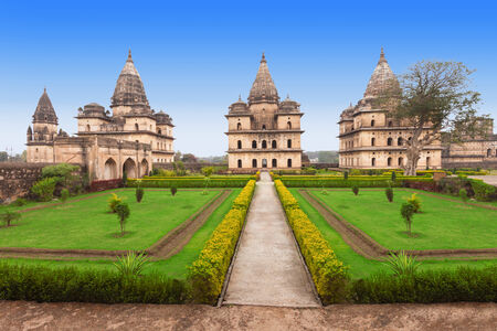 madhya: Chhatris or Cenotaphs are dome shaped structure built in 17th century for a long memory about raja of Orchha city. Editorial