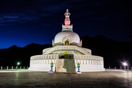 shanti: Shanti Stupa is a Buddhist white-domed stupa in Leh, India. Stock Photo