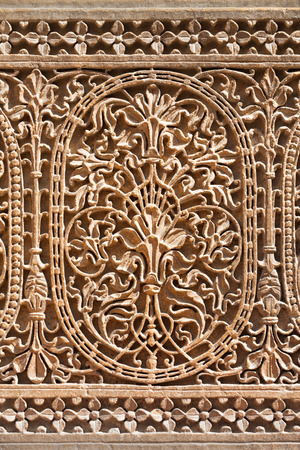 ki: Pattern of the Patwon ki Haveli in Jaisalmer, Rajasthan state in India Stock Photo