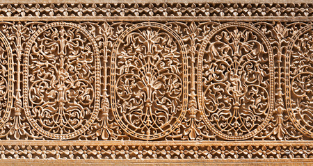 Pattern of the Patwon ki Haveli in Jaisalmer, Rajasthan state in India Stock Photo