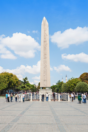 constantinople ancient: ISTANBUL, TURKEY - SEPTEMBER 07, 2014: The Obelisk of Theodosius is the Ancient Egyptian obelisk of Pharaoh Thutmose III in the Hippodrome of Constantinople on September 07, 2014 in Istanbul, Turkey Editorial