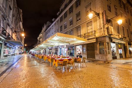 baixa: LISBON - JUNE 25: Street cafe in the center on June, 25, 2014 in Lisbon, Portugal