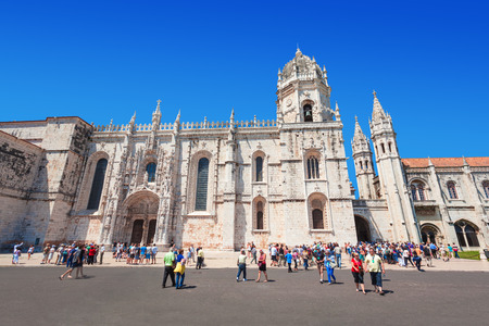 june 25: LISBON, PORTUGAL - JUNE 25: The Jeronimos Monastery or Hieronymites Monastery on June 25, 2014 in Lisbon, Portugal