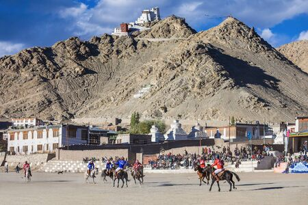 tibetan house: LEH, INDIA - SEPTEMBER 24: Unidentified polo players at the match on Lehs polo ground on September 24, 2013, Leh, India