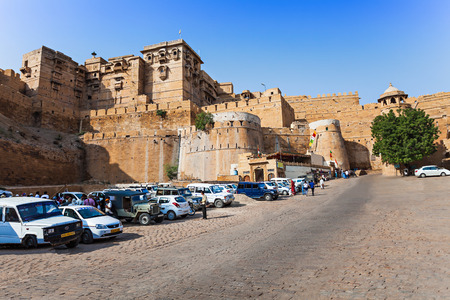 jaisalmer: JAISALMER, INDIA - OCTOBER 14: City Fort on October 14, 2013, Jaisalmer, India. Jaisalmer the golden city stands on a ridge of yellowish sandstone.