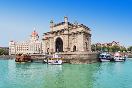 MUMBAI, INDIA - FEBRUARY 21: The Taj Mahal Palace Hotel and Gateway of India on Febuary 21, 2014 in Mumbai, India.