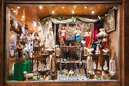 FATIMA, PORTUGAL - JUNE 29: Storefront of souvenir store on June 29, 2014 in Fatima, Portugal