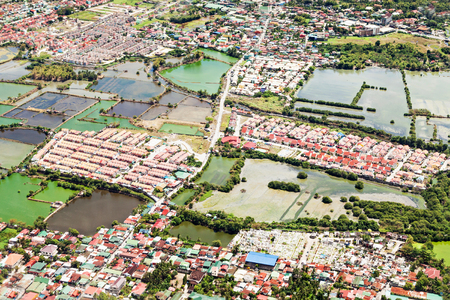 Manila suburb, view from the plane, Philippines Stock Photo