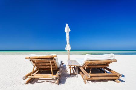 Sun beds on the lonely beach, Boracay