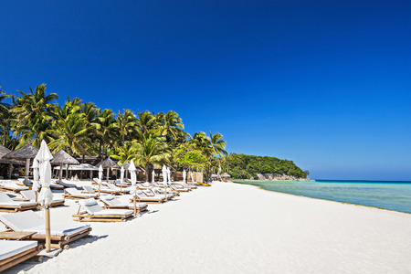 Sun beds on the lonely beach, Boracay