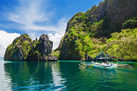 Traditional filippino boat in the sea, Philippines