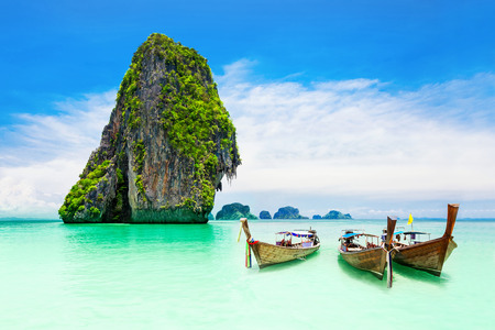 thailand: Beaty limestone rock in the ocean Stock Photo