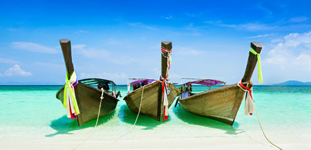 Longtail boats at the beautiful beach, Thailand