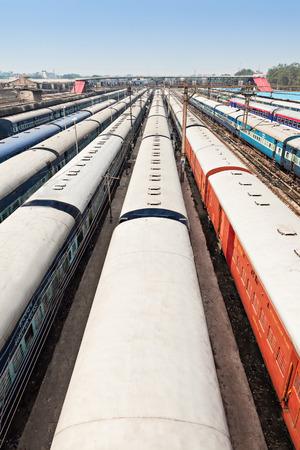 Many trains at New Delhi train station, India