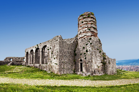 Ruins of Rozafa Castle in Shkoder, Albania Stock Photo