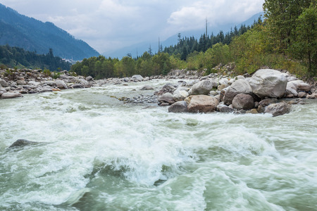 Beas river in Manali town, Himalaya, India