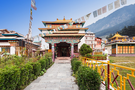 Tibetan monastery in Manali village, Himalaya, India Stock Photo