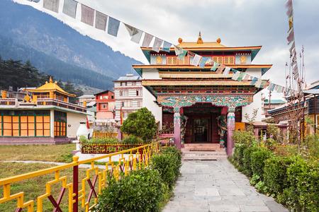 Tibetan monastery in Manali village, Himalaya, India Stock Photo