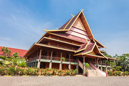 traditional house: Riau pavilion inside Taman Mini Indonesia Park. Editorial