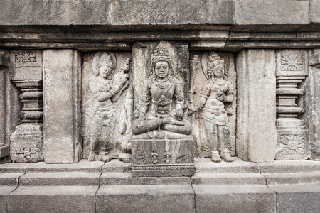 ancient architecture: Relief panel of Prambanan Temple, Central Java in Indonesia Stock Photo