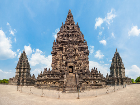 hindu temple: Prambanan or Candi Rara Jonggrang is a Hindu temple compound in Java, Indonesia, dedicated to the Trimurti: the Creator (Brahma), the  Preserver (Vishnu) and the Destroyer (Shiva). Stock Photo