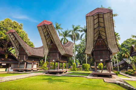 indonesia culture: Sulawesi pavilion in the Taman Mini Indonesia Park Editorial