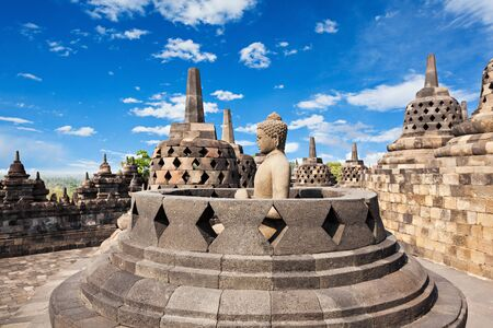 culture: Buddha statue in Borobudur Temple, Java island, Indonesia.