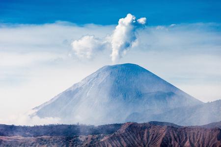active volcano: Semeru volcano at sunrise, Java island, Indonesia